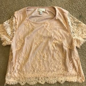 Peach Lace Crop Top